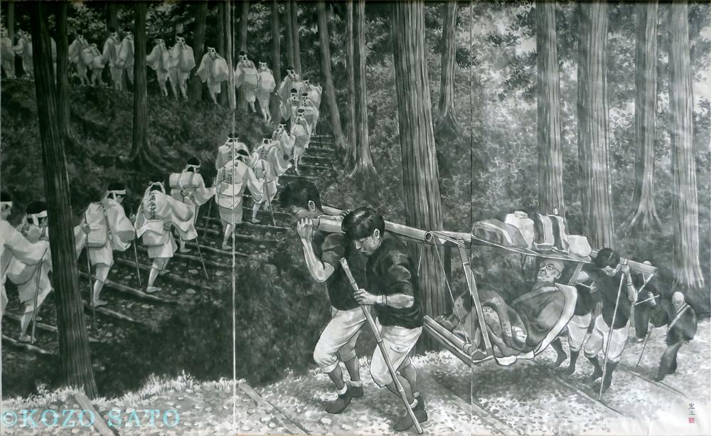 「七面山への登詣」2610 x 1600 mm 2018年制作 山梨県早川町 赤沢宿清水屋蔵
