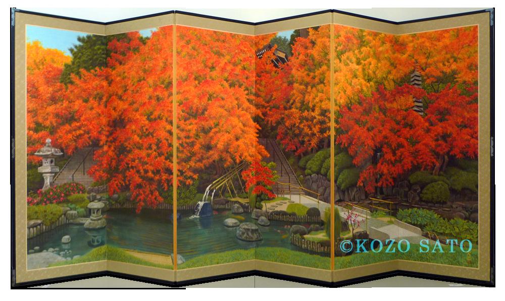 「紅葉屏風」4043 x 1818 mm 2018年制作 鎌倉長谷寺蔵