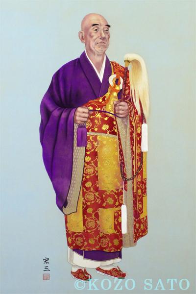「明心寺第二世住職 頂相」1080 x 455 mm 2014年制作 北海道岩見沢市 明心寺蔵