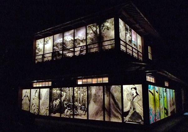 「七面山への登詣」夜の様子