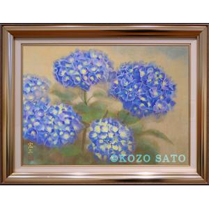 「紫陽花図」P8号(455 x 333mm) 日本画 2019年制作 額縁ゴールド 547 x 425mm