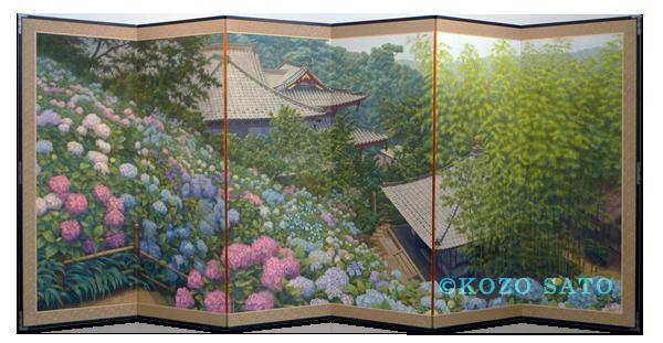 「紫陽花屏風」4043 x 1818 mm 2010年制作 鎌倉長谷寺蔵