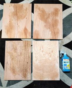 木製パネルエタノール消毒