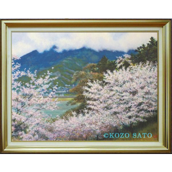 日本画 佐藤宏三 「雨上がる」P12号