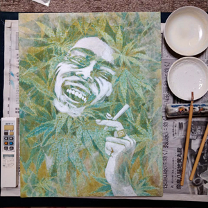 日本画家 佐藤宏三 「Get up, stand up.」蓄光顔料 復活描写